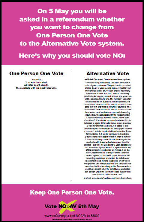 No to AV – One person, one vote – politicaladvertising.co.uk