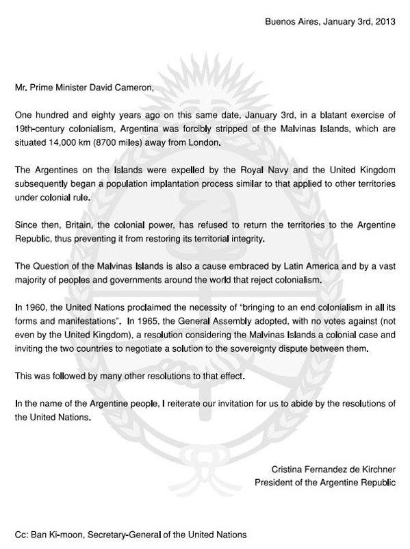 Argentine letter to David Cameron ad falklands