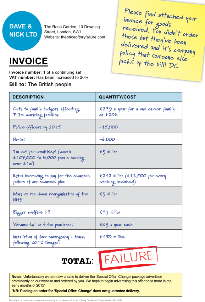 Dave and nick ltd - invoice to britain