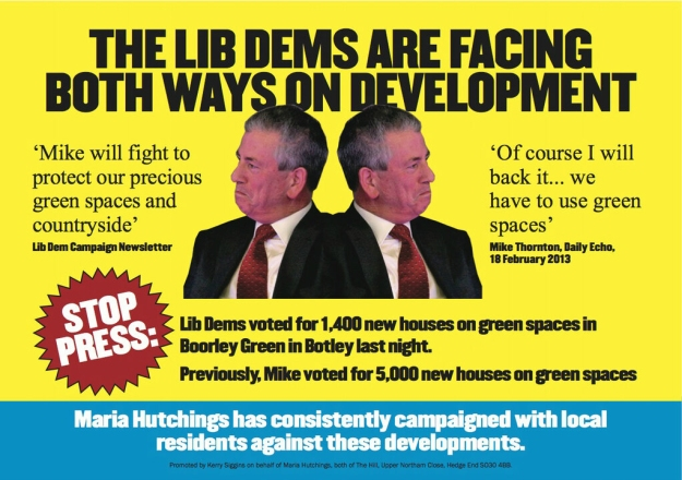 Conservative party eastleigh by election leaflet looking both ways
