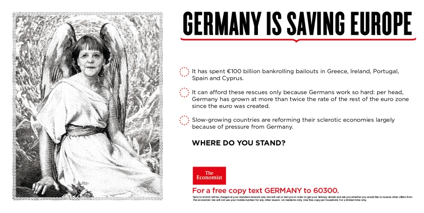 Economist where do you stand advert germany saving europe merkel angel