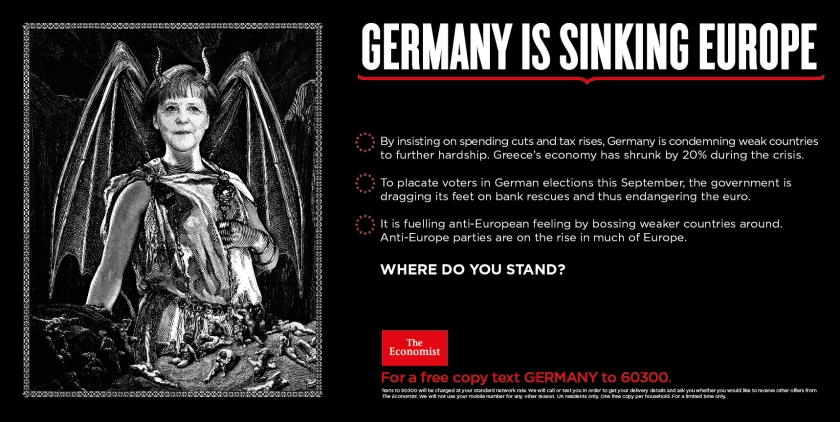 Economist where do you stand advert germany is sinking europe merkel devil