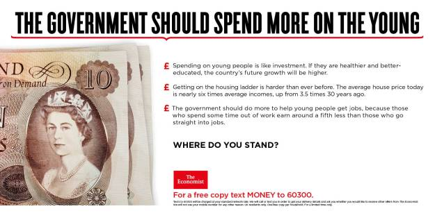 economist poster where do you stand government should spend more on the young bank note
