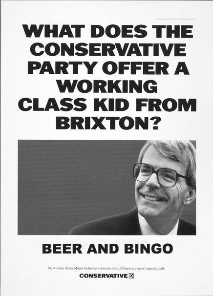 What does the Tory Party offer a white kid from brixton beer and bingo