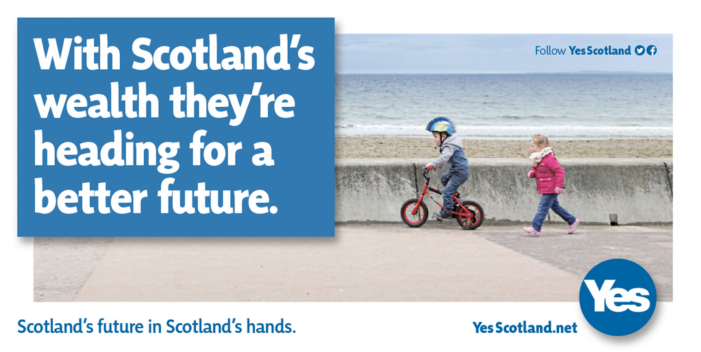 Yes Scotland heading for a better future poster children beach