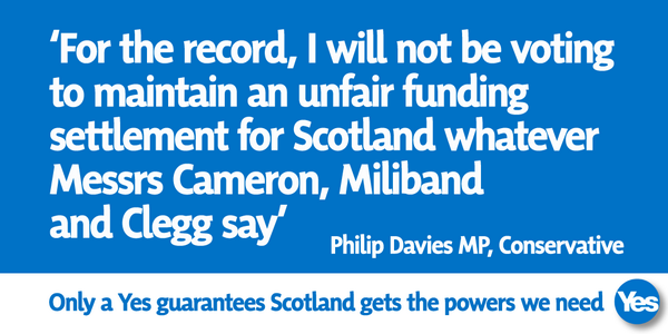 Yes Scotland poster advert - only yes guarantees power