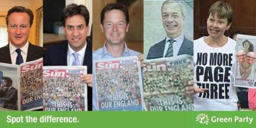 Green Party spot the difference end of page 3 sun newspaper