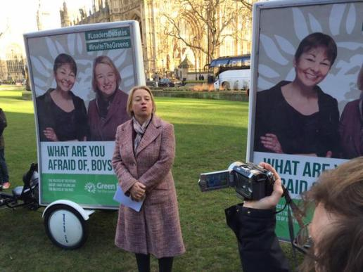 Green Party what are you afraid of boys general election tv debates westminster