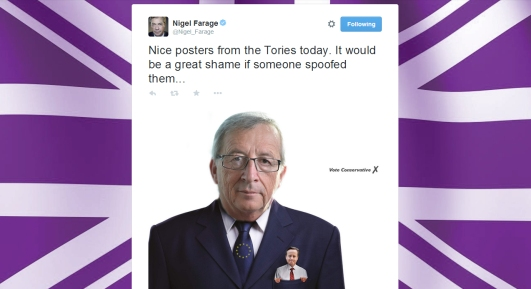Farage tweet spoof tory poster eu cameron in juncker's pocket