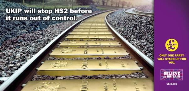 UKIP HS2 poster gold railway sleepers