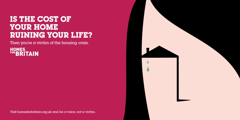 Woman face house homes for britain poster