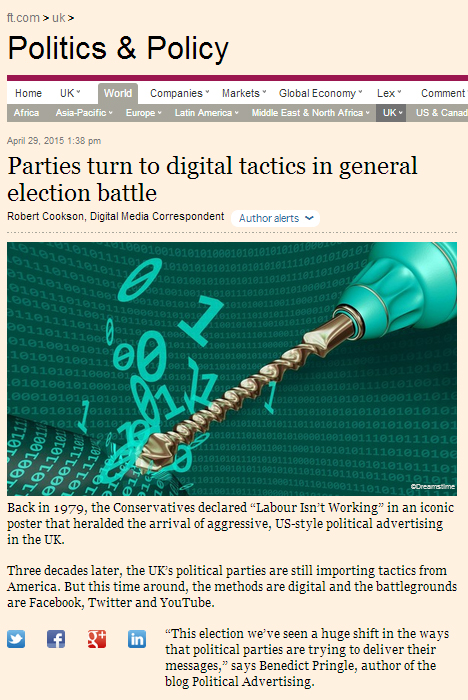 FT article digital tactics in general election battle benedict pringle
