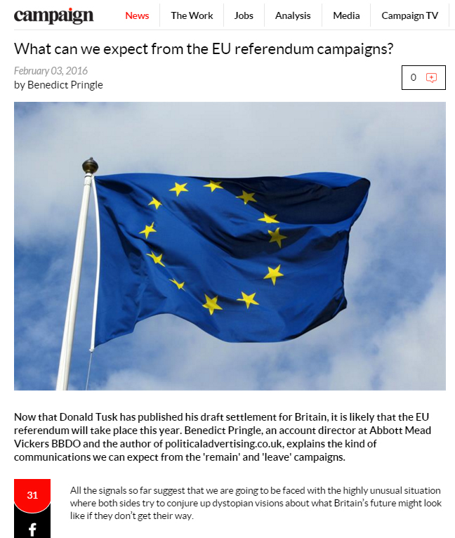 What can we expect from EU referendum campaigns