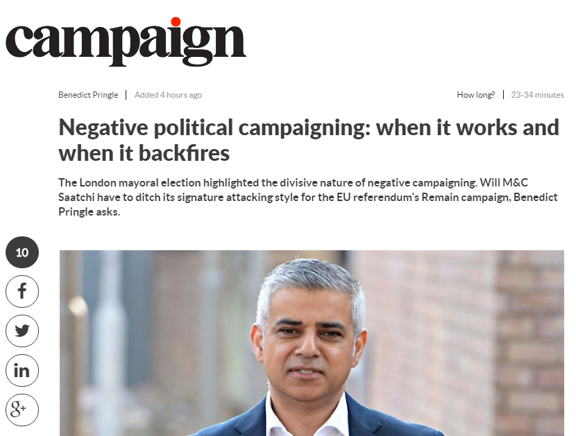 Negative campaigning and when it backfires Benedict Pringle Campaign Magazine