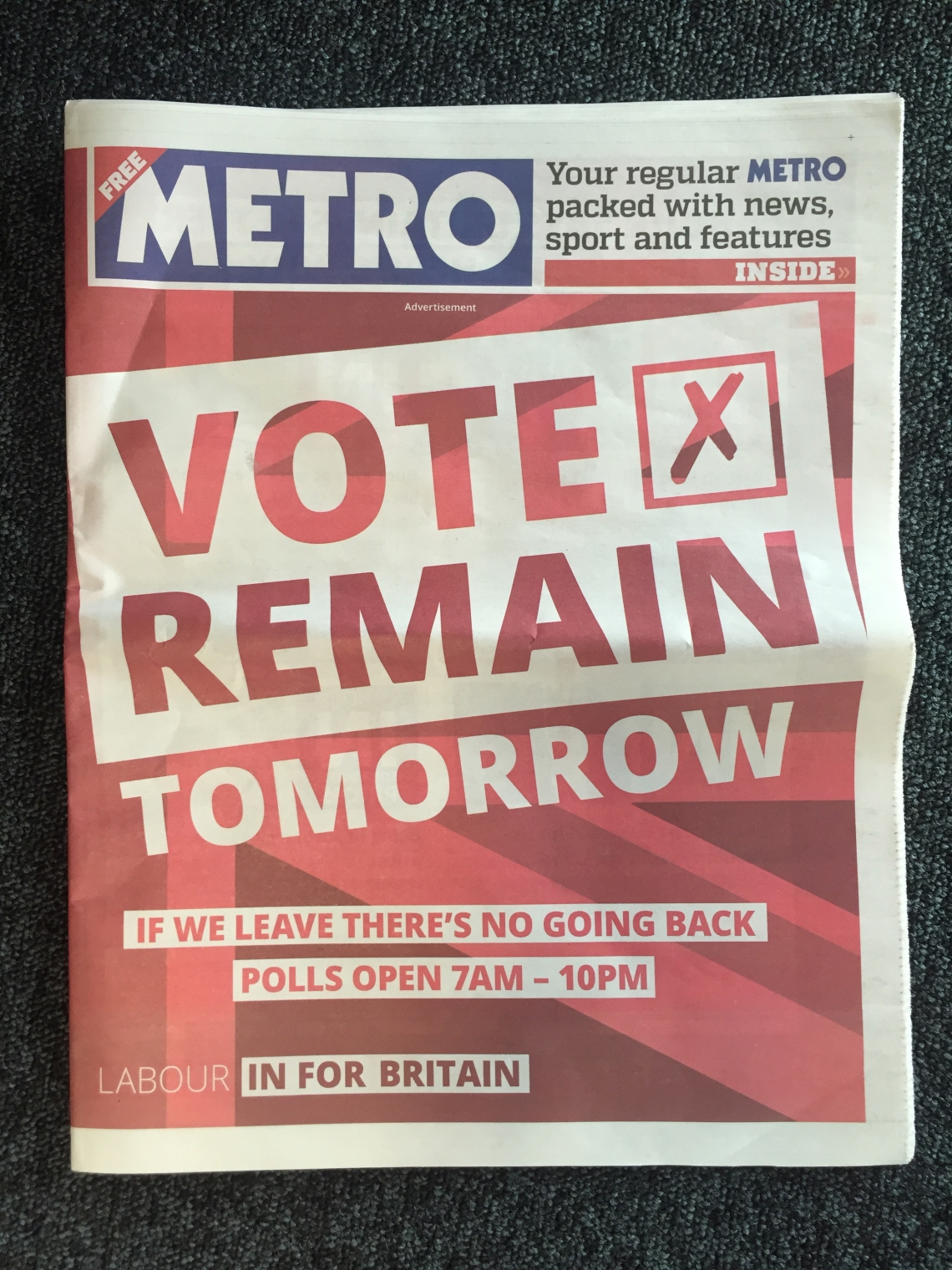Labour In cover wrap metro eu referendum