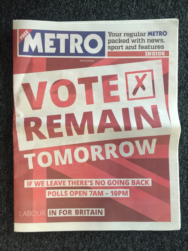 Labour In cover wrap metro eu referendum