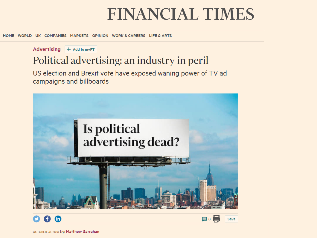"""Is political advertising dead?"" #QTWTAIN"