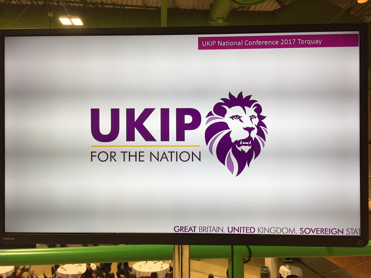UKIP new logo 2017 conference premier league lion big screen