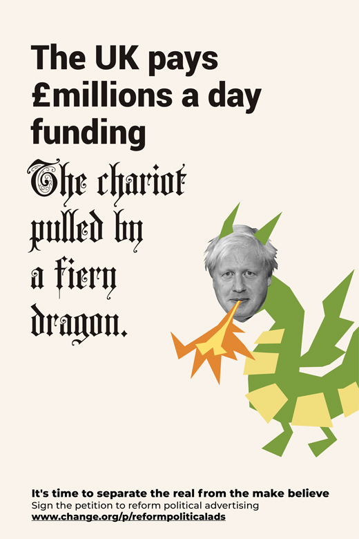 Boris Johnson Dragon reform political advertising