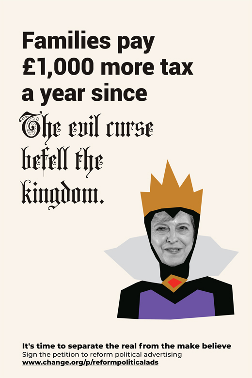 Theresa May queen reform political advertising
