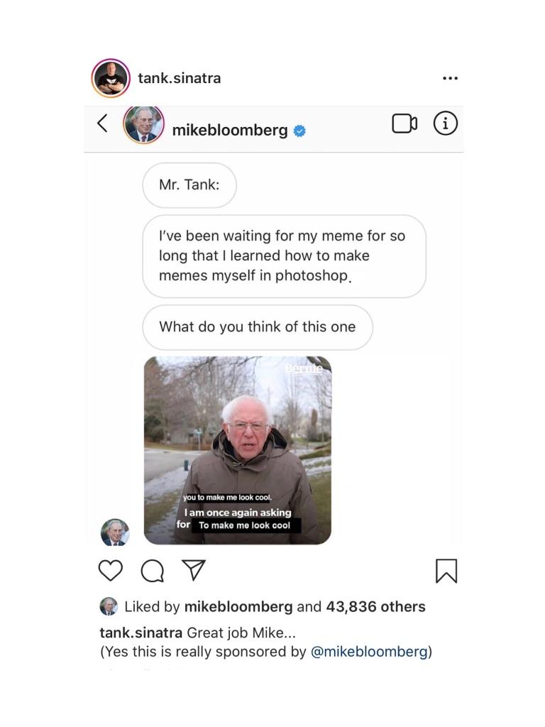 mike bloomberg meme featuring bernie sanders